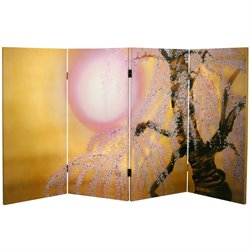 Oriental Furniture 3' Tall Sakura Blossoms Canvas Room Divider