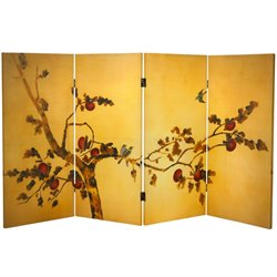 Oriental Furniture 3' Tall Birds on Plum Tree Canvas Room Divider