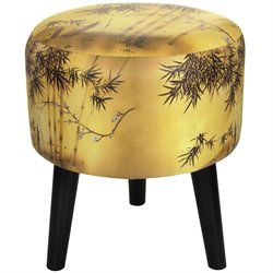 Oriental Furniture Gold Bamboo Stool