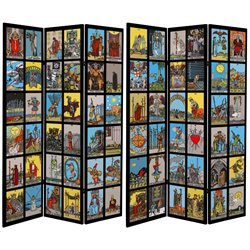 Oriental Furniture 6' Tall Double Sided Tarot Canvas Room Divider