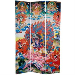 Oriental Furniture 6' Tall Palden Lhamo Canvas Room Divider