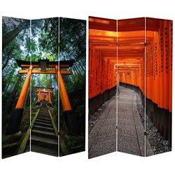 Oriental Furniture 6' Tall Japanese Torii Gate Canvas Room Divider