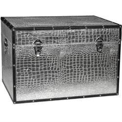 Oriental Furniture Faux Leather Silver Crocodile Trunk
