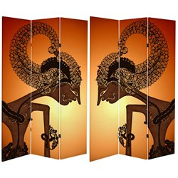 Oriental Furniture 6' Tall Wayang Shadow Puppet Canvas Room Divider