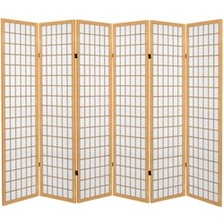 6' Tall Canvas Window Pane Room Divider in Natural