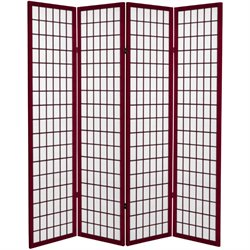 6' Tall Canvas Window Pane Room Divider in Rosewood