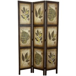 Oriental Furniture 6' Double Sided Botanic Printed Wood Room Divider