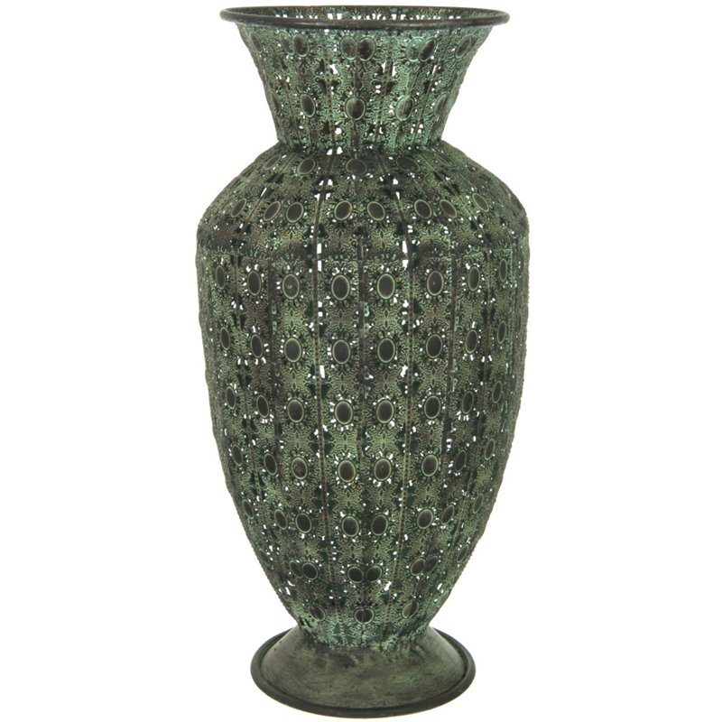 Oriental furniture fluted display vase in wrought iron for Oriental vase and furniture