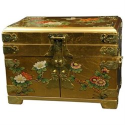 Oriental Furniture Daisi Jewelry Box with Mirror in Gold