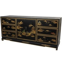 Oriental Furniture Lacquer 6 Drawer Dresser in Black Lacquer
