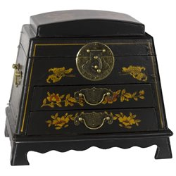 Oriental Furniture Lacquer Rounded Jewelry Box in Black