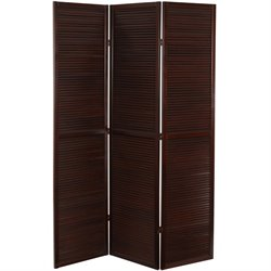 Oriental Furniture 6' Tall Double Venetian Room Divider in Walnut