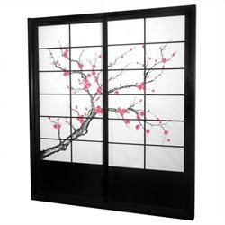 Oriental 7 ' Tall Cherry Blossom Shoji Sliding Door Kit in Black