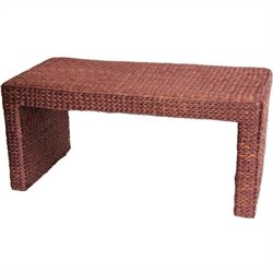 Oriental Furniture Rush Grass Coffee Table in Red mocha