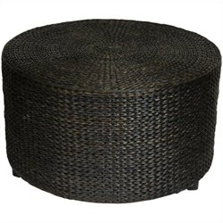 Oriental Furniture Rush Grass Coffee Table Ottoman in Black
