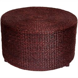 Oriental Furniture Rush Grass Coffee Table Ottoman in Red Mocha