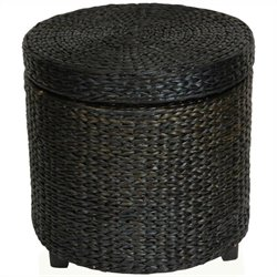 Oriental Furniture Rush Grass Storage Footstool in Black