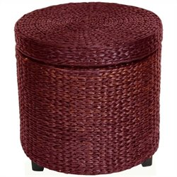 Oriental Furniture Rush Grass Storage Footstool in Red Mocha