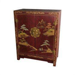 Oriental Furniture Red Lacquer Accent Chest in Red Lacquer