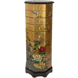 Oriental Furniture Gold Leaf Jewelry Armoire