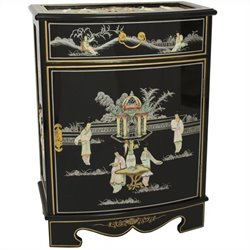 Oriental Furniture Oval Front Shoe Cabinet in Rich