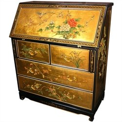 Oriental Furniture Gold Leaf Secretary Desk in Rich