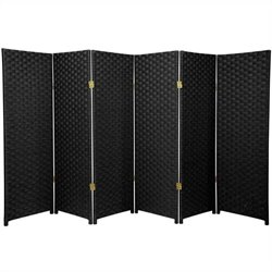 Oriental Furniture Six Panel Woven Fiber Room Divider in Black