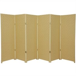 Oriental 6 Panel Woven Fiber Room Divider in Dark Beige