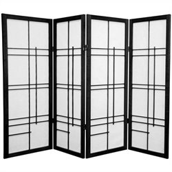 Oriental Furniture Four Panel Eudes Shoji Screen in Black