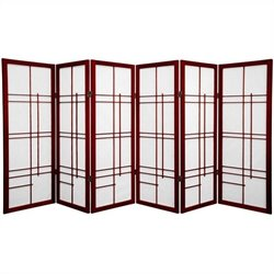 Oriental Furniture Six Panel Eudes Shoji Screen in Rosewood