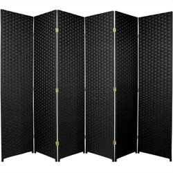 Oriental Furniture Woven Fiber Room Divider in Black