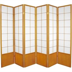 Oriental Furniture Six Panel Zen Shoji Room Divider in Honey