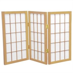 Oriental 3 Panel Desktop Window Pane Shoji Screen in Natural