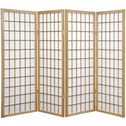 Oriental Furniture Four Panel Window Pane Shoji Screen in Natural