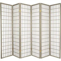 Oriental Furniture Window Pane Shoji Screen with Special Edit in Grey