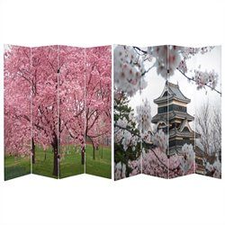 Oriental Double Sided Cherry Blossoms Room Divider
