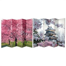 Oriental Double Sided Cherry Blossoms Canvas Room Divider