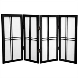 Oriental Desktop Double Cross 4 Panels Shoji Screen in Black