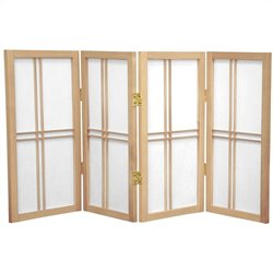 Oriental Desktop Double Cross 4 Panels Shoji Screen in Natural