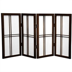 Oriental Desktop Double Cross 4 Panels Shoji Screen in Walnut