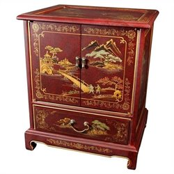 Oriental Furniture Japanese End Table in Red