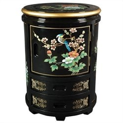 Oriental Furniture Japanese Stool in Black