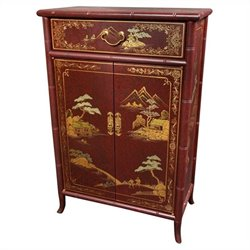Oriental Furniture Japanese Shoe Cabinet in Red