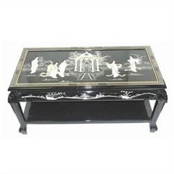 Oriental Furniture Lacquer Coffee Table in Black
