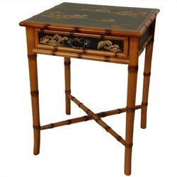 Oriental Furniture Ching End Table in Black