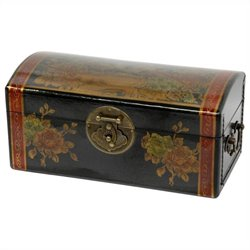 Oriental Furniture Flowers Jewelry Box in Black