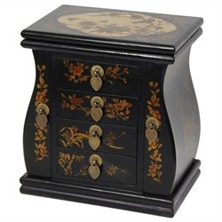 Oriental Furniture Standing Mirror Jewelry Box in Black