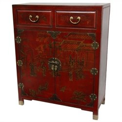 Oriental Furniture Accent Chest in Red