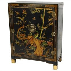 Oriental Furniture Nestling Birds Accent Chest in Black