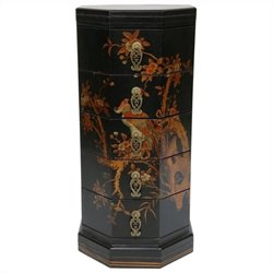 Oriental Furniture Octagonal Accent Chest in Black
